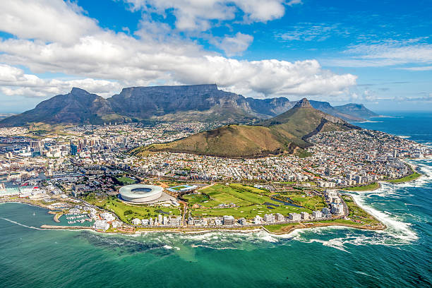 Cape Town and the 12 Apostels from above in South Africa